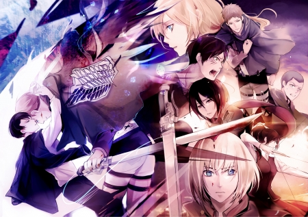 Attack on Titan - Levi, Mikasa, Historia, Eren, Krista, Jean, Shingeki no Kyojin, blood, Attack on Titan, Connie, Sasha, uniform, Armin, Erwin, weapon