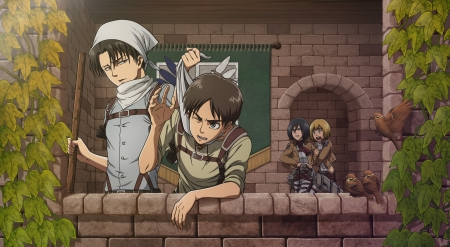 Attack on Titan - Mikasa, Levi, Eren, birds, Shingeki no Kyojin, Attack on Titan, Scouting Legion, uniform, Armin, weapon