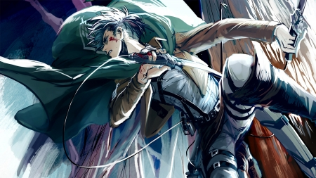 Attack on Titan - Attack on Titan, Levi, uniform, weapon, Shingeki no Kyojin, blood