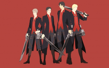 Attack on Titan - Marco, gunblade, Jean, Shingeki no Kyojin, Reiner, Attack on Titan, uniform, Bertolt, weapon