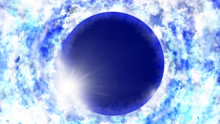 Eclipse - manga, blue, sky, moon, luna, anime, white, eclipse, cloud, luminos