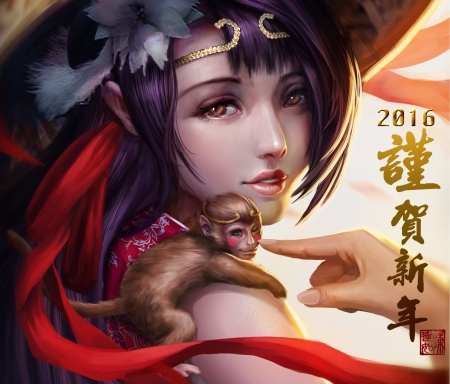 :-) - 2016, frumusete, luminos, zodiac, year, monkey, fantasy, girl, hand, chinese