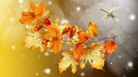 Beautiful Fall - Firefox theme, fall, autumn, orange, gold, leaves, bokeh, blossoms, dragonfly, flowers