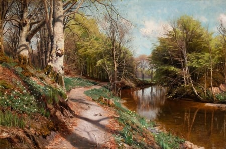 Autumn at the River - forest, painting, path, reflections, trees