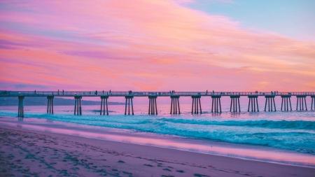 California Beach Pier At Twilight