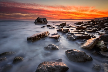 Bright Sunset over Rocky Seacoast - Coast, Nature, Sea, Rocks, Sunsets, Sky