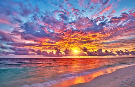 Lovely Sunset Over Beach - clouds, water, sky, sunset