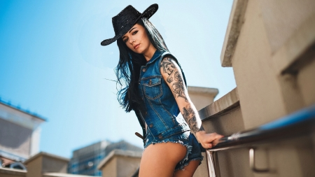 Tie Your Horse Here . . - tattoos, female, models, hats, cowgirl, town, outdoors, women, brunettes, hitching post, western