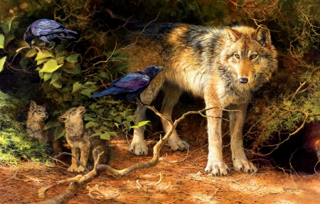 The Food Critic - painting, wolf, crows, pups