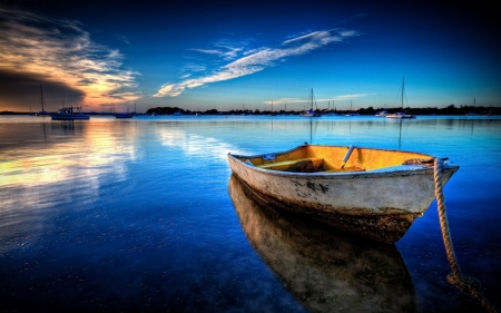 Boat at Sunset - water, reflections, sky, clouds, lake