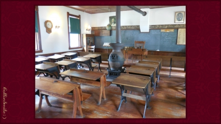 One Room Schoolhouse - teacher, schoolhouse, desks, school, alphabet, pupils, clock, students, potbelly stove