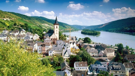 River Rhine, Germany - Town, River, Hills, Grass, Buildings, Architecture