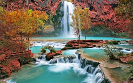 majestic waterfall - water, tree, rock, waterfall, clidd