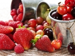 Strawberries, Cherries, Gooseberries, Raspberries