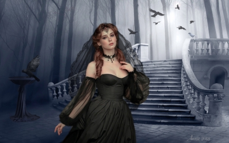 Gothic Wedding - Staircase, crows, Lovely, black, eerie, wedding, fantasy, Two colors, dark, Gothic