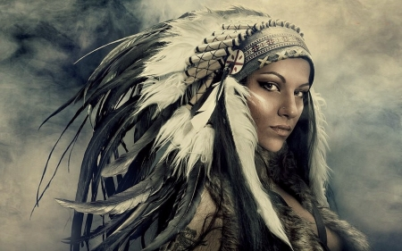Beautiful Native Woman - pretty, lovely, Native indian, beautiful, woman, stately, headdress, feather, face