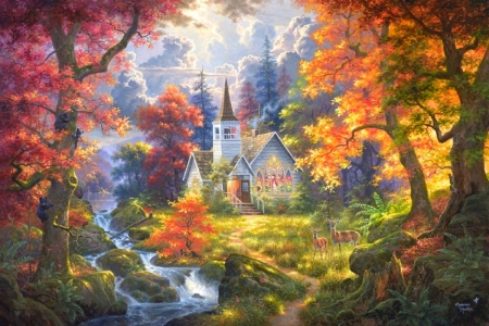 Chapel of Faith - architecture, fall season, autumn, religious, love four seasons, colors, attractions in dreams, waterfalls, deer, paintings, churches, nature, chapel, streams