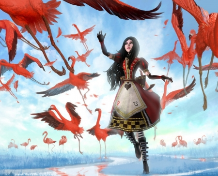 Alice Madness Returns - alice madness, returns, game, flamingo, fantasy, girl, pasari, pink, blue