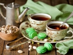Pistachios Tea Cups and Cookies
