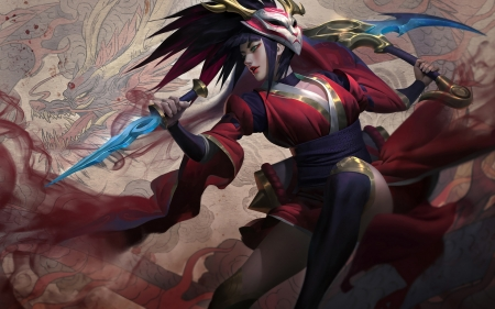 Akali - red, frumusete, fantasy, akali, luminos, girl, blood moon, kimono