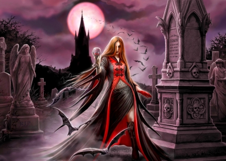 Vampiress in the cemetry - art, girl, gothic, horror, cemetry, night