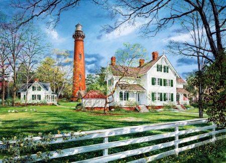 Currituck Lighthouse - fence, cottages, painting, trees, clouds, sky, artwork