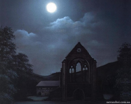 Spooky night - moon, gothic, spooky, ruins, night