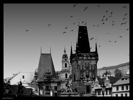 Prague the vampire's city - photo, architecture, europe, spooky, gothic, black and white