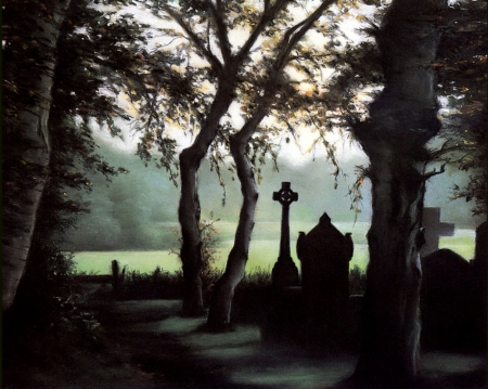 Cemetery - forest, art, spooky, gothic, nature, tombs