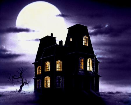 Halloween house under the moon - spooky, gothic, halloween, horror, night