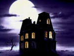 Halloween house under the moon