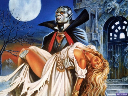 Count Dracula and his bride - moon, gothic, vampire, castle, horror, night