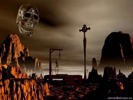 The desert of death - skulls, 3d, gothic, hanging man, cross