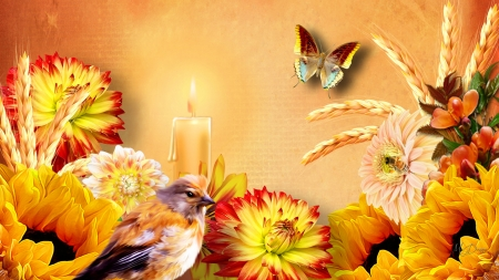 Awesome Autumn - candle, fall, astor, autumn, wheat, gold, bird, sunflowers, butterfly, oats, light, dahlia