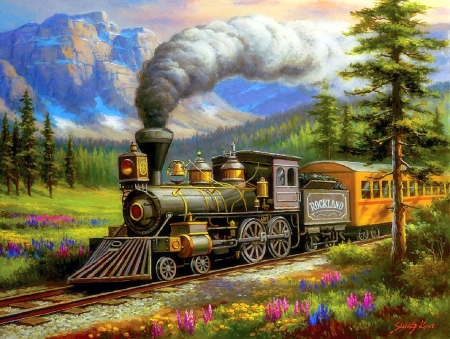 Rockland Express - paintings, mountains, trains, summer, travels, love four seasons, nature, attractions in dreams