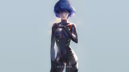 Neon Genesis Evangelion - Ayanami Rei - 3d, blue background, anime, Neon Genesis Evangelion, ayanami rei, illustration