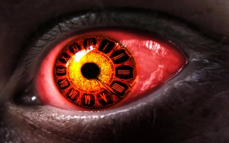Steampunk Red Eyes Fantasy Abstract Background