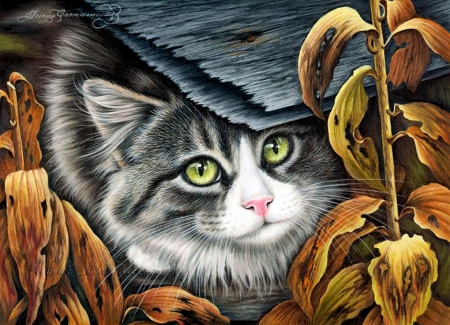 Cute Kitty - autumn, leaves, painting, cat, artwork