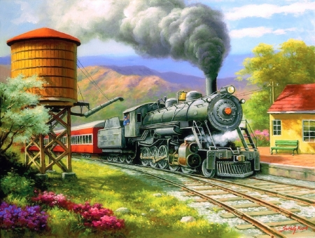 No.90's Daily Run - paintings, trains, mountains, summer, travels, love four seasons, nature, attractions in dreams