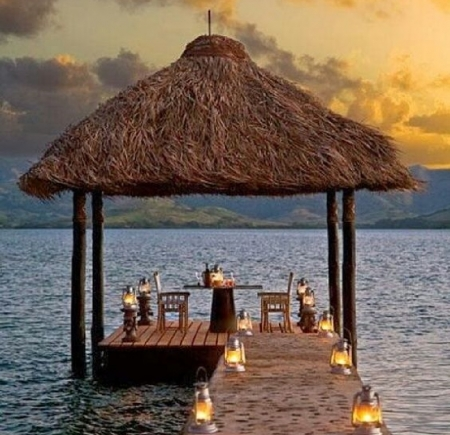 romantic table for two - table, nature, romantic, beaches