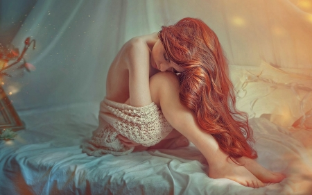 Remarkable, rather redhead in the bed