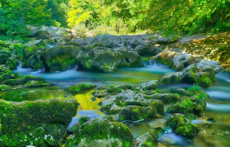 Green nature - colorful, lovely, beautiful, stones, water, green, color, nature, cascade, landscape, outdoor