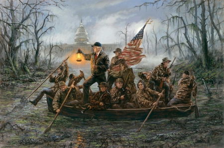 :-) - art, jon mcnaughton, man, boat, water, donald trump, people, painting, capitol, pictura