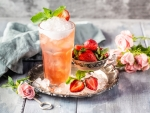Strawberry Juice with Flowers