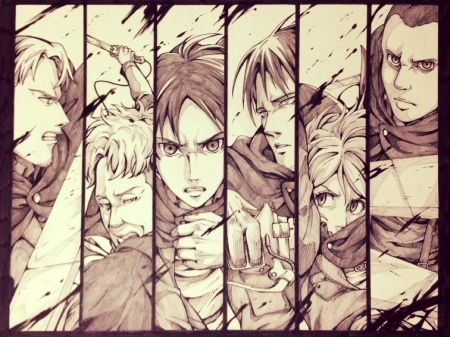Attack on Titan - Squad Levi, Petra, Levi, Eld, Eren, Shingeki no Kyojin, blood, Oruo, Attack on Titan, uniform, Gunther, weapon, Special Operations Squad