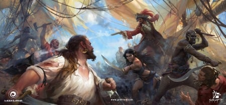 Ultimate pirates - fantasy, girl, ship, grafit studio, man, pirate