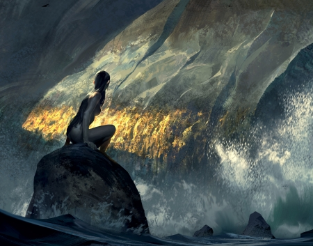 Siren of the seas - art, girl, rock, sunlight, waves, stormy