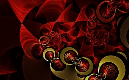 Dark Red and Gold - dark red, gold, fractal, circles, abstract