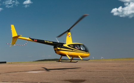 Yellow Helicopter - yellow, sky, helicopter, airfield