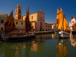 Sailboats in Cesenatico, Italy